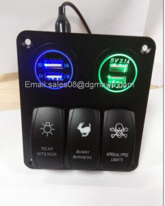 3 Gang Car Switch Panel LED Rocker with 2 USB Socket Cigaretter Plug for Marine/Boat/RV 12V Waterproof pictures & photos