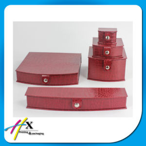 Fancy Red Leatherette Jewelry display Box Set with Butom Lock pictures & photos
