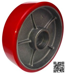 180mm Red PU on Iron Core Forklift Wheel for Warehouse pictures & photos