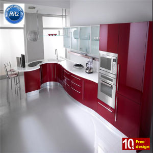 China Wholesale MDF Red Laquer Finish kitchen Cabinet with Good Price pictures & photos