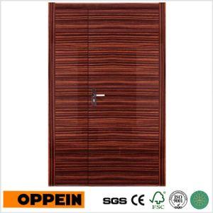 Oppein Unequal Double Leaf Wood Veneer Lacquer Security Door (MSPZ01) pictures & photos