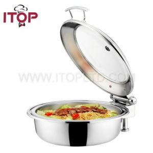 Newly Round Hydraulic Chafing Dish with Glass Lid (T36381) pictures & photos