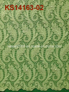 Hot Selling White High Quality 100% Cotton Cord Lace Fabric pictures & photos