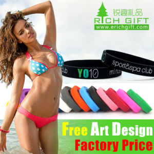 Custom High Quality Professional Manufacturer Printed Yellow Silicone Wristband pictures & photos