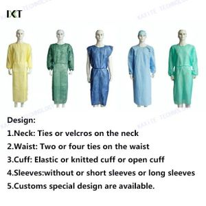 SMS and PP Nonwoven Disposable Isolation Surgical Gown for Surgeon pictures & photos