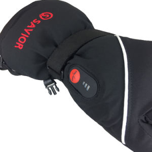 SAVIOR S15  Waterproof Genuine Leather Rechargeable Battery Heated Gloves Skiing Gloves Sport Gloves (Unisex, full size black) pictures & photos
