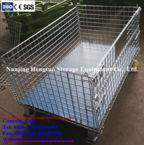 Heavy Duty Warehouse Wire Mesh Pallet Container with Traction pictures & photos