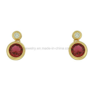 Simple Style Jewellery Plated Gemston Ear Stud for Girls (KE3214) pictures & photos