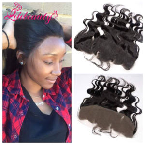 Unprocessed Virgin Human Hair Natural Black Indian Lace Frontal pictures & photos