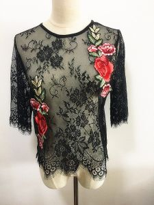 Fashion Clothes Sexy Eyelash Lace 3/4 Sleeve Round Neck Women Tops pictures & photos