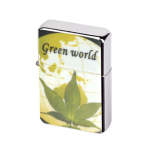 Green Leaves Chrome PVC Emblem Steel Oil Lighter