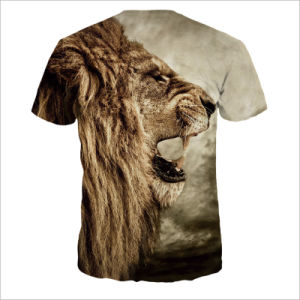 Printed Cartoon Tiger Short Polyester Tee Shirt for Man pictures & photos