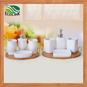 Ceramic 4PCS Bathroom Set with Bamboo Tray pictures & photos