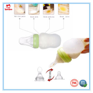 Customized Silicone Milk Bottle with Soft Anti Scald Spoon pictures & photos