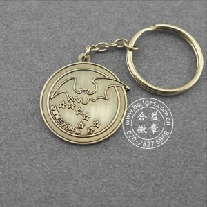 Round Antique Silver Plated Metal Keychain (GZHY-KC-011) pictures & photos