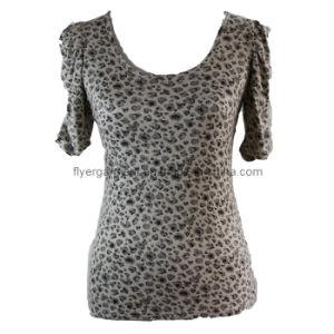 Lady′s 100%Viscose Full Printing Round Neck Shirt (MDC-102)
