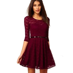 Ladies Hot Sell High Quality 3/4 Sleeves Lace Casual Dress (S129001)