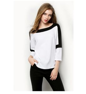 Fashion Europen Style Women Round Neck Short Sleeve Chiffon Blouse (JP-2015T049) pictures & photos