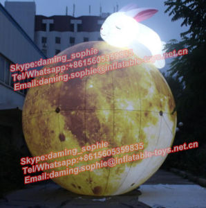 Giant Inflatable Moon Balloon with Rabbit with LED Lights