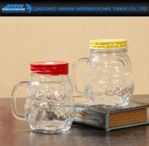 Oval Shape Glass Mason Jar, Drinking Cup with Handle pictures & photos