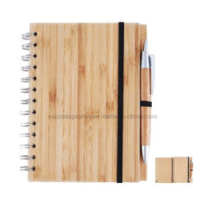 Customized Spiral Bamboo Cover Notebook with Bamboo Pen pictures & photos