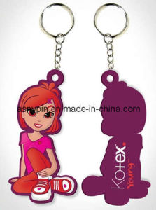 Popular Cartoon Character Design 3D Soft PVC Keyring (AS-NK-0856)