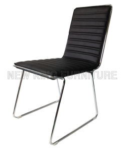 Modern Cheap Chrome Steel Foot PU Leather Dining Chair (NK-DC065)