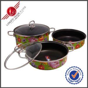 3 PCS Kitchenware Enamel Cookware Set pictures & photos