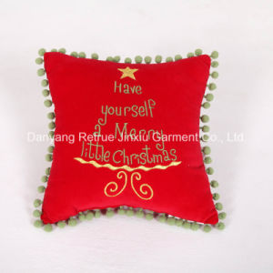 Cotton Decorative Christmas Cushion Handmade Embroidered Pillow
