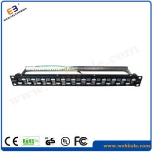 CAT6A FTP Patch Panel Empty 1u 19′′ 24 Ports Without RJ45 Krone Jackets, Steel Panel pictures & photos