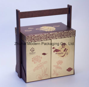 6PCS High-End Portable Mooncake Packaging Box with Wooden Handle pictures & photos