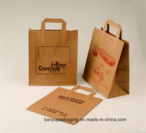 Brown Kraft Paper Bag for Food Packaging with Handle pictures & photos