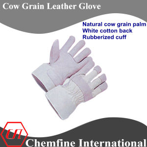 Natural Cow Grain Palm, White Cotton Back, Rubberized Cuff Leather Work Gloves pictures & photos