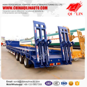 Concaved Lowbed Truck Semi Trailer 50t Excavator Transportation Low Loader pictures & photos