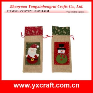 Christmas Decoration (ZY16Y137-1-2 34X14.5CM) Snowman Wine Bag Wine Packaging pictures & photos