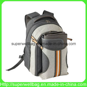 4 Person Picnic Backpack Basket with Cooler Compartment Bags