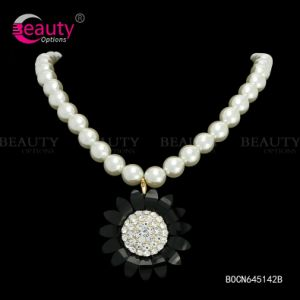 Gold Plated Pearl Necklace with CZ Diamond Flower