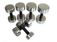 Fixed Chromed Dumbbell with Rubber Handle