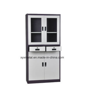 Metal -Double Glass Door Lock Two Middle Drawer Office Filing Cabinets pictures & photos