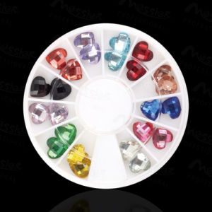 3D Heart Design Flat Base 12 Hot Colours Diamond Nail Art Decoration pictures & photos