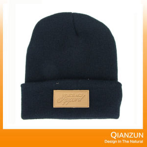 Plain Beanie Cap with Embroidery Black pictures & photos