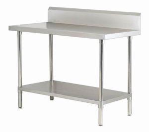 Stainelss Steel Work Table with Shelf Blacksplash and Adjustable Feet (POC-107)