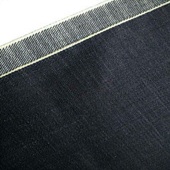 15oz Twill Heavy Selvadge Black Denim Fabric for Jeans (JY9878)