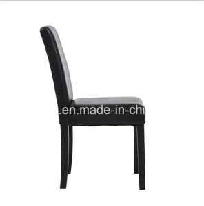 2PCS Black PU Dining Chairs Wooden Legs Seat Dining Room&Kitchen Middle Back pictures & photos