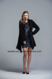 Ladies Coat Dress Fashion Autumn Winter Polyester Black Warm Sexy Pagoda Sleeve pictures & photos