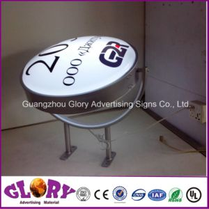 Custom Lighted Acrylic Street Aluminum Embossed Round Light Box pictures & photos