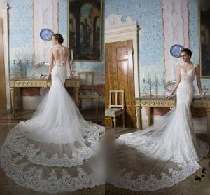 Spaghetti Straps Bridal Gowns Mermaid Lace Backless Wedding Dress Lb201810 pictures & photos