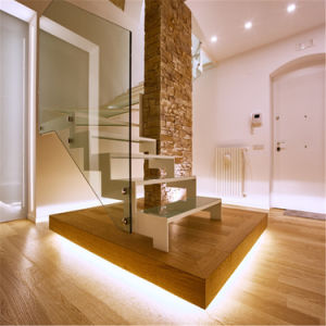 Double Steel Plates Stairs Laminated Tempered Glass Tread Staircase Residential Building pictures & photos