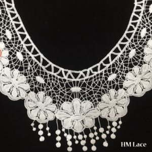 35*28cm Trimming Lace with Five White Geometric Flowers Spotted Fringe Superdry Floral Knitted Lace Trim Collar Dress Fabric Hml8636 Gathered Lace Trim pictures & photos