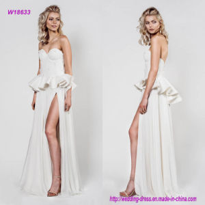 Sexy Strapless Sweetheart Peplum A Line Wedding Dress with Slit Skirt pictures & photos